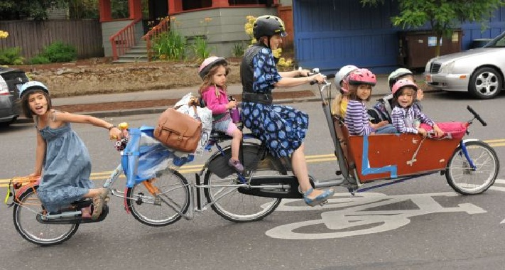 Six Kids On One Bicycle